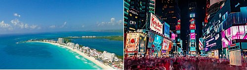 Cancun and New York City